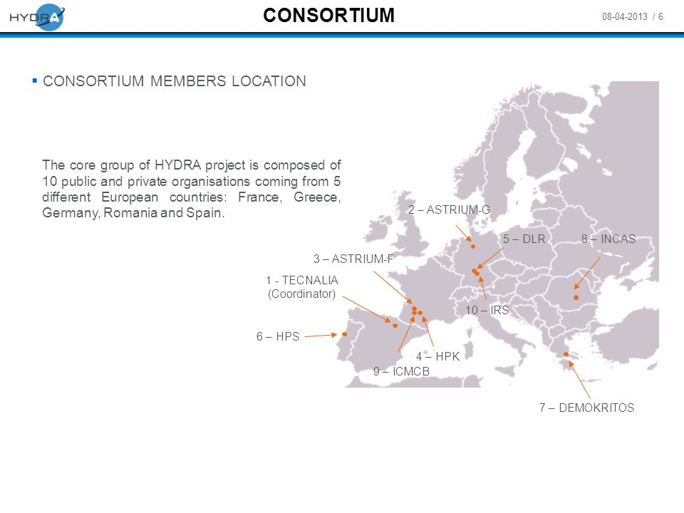08-04-2013 / 6 CONSORTIUM MEMBERS LOCATION 1 - TECNALIA (Coordinator) The core group of HYDRA project is composed of 10 public and private organisatio