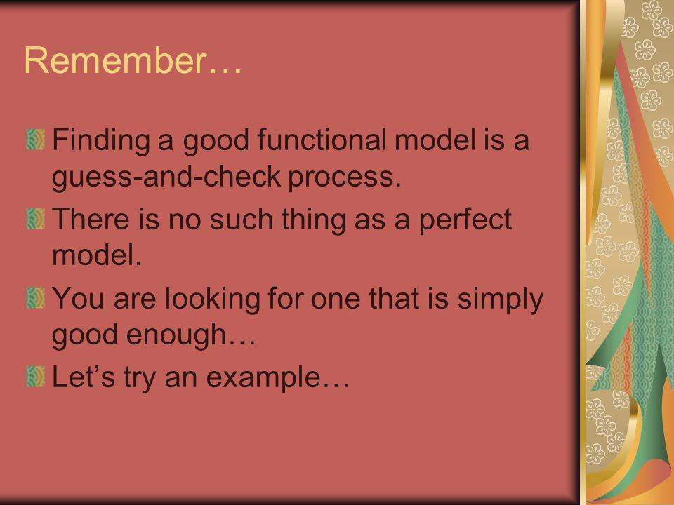 Remember… Finding a good functional model is a guess-and-check process. There is no such thing as a perfect model. You are looking for one that is sim