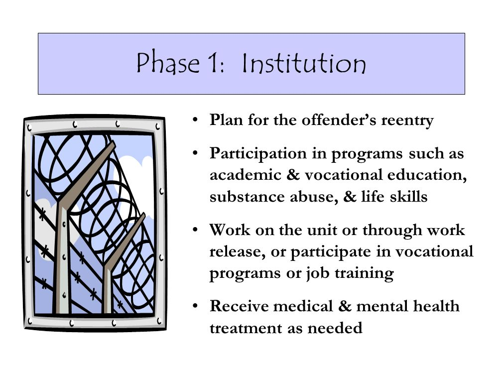 Phase 1: Institution Plan for the offenders reentry Participation in programs such as academic & vocational education, substance abuse, & life skills