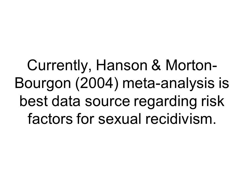 Currently, Hanson & Morton- Bourgon (2004) meta-analysis is best data source regarding risk factors for sexual recidivism.