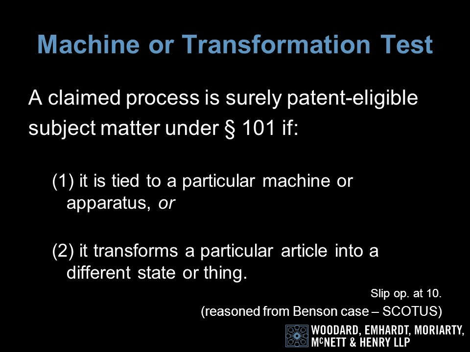 Holding Adopts the machine or transformation test for judging the eligibility of a process for patent protection.