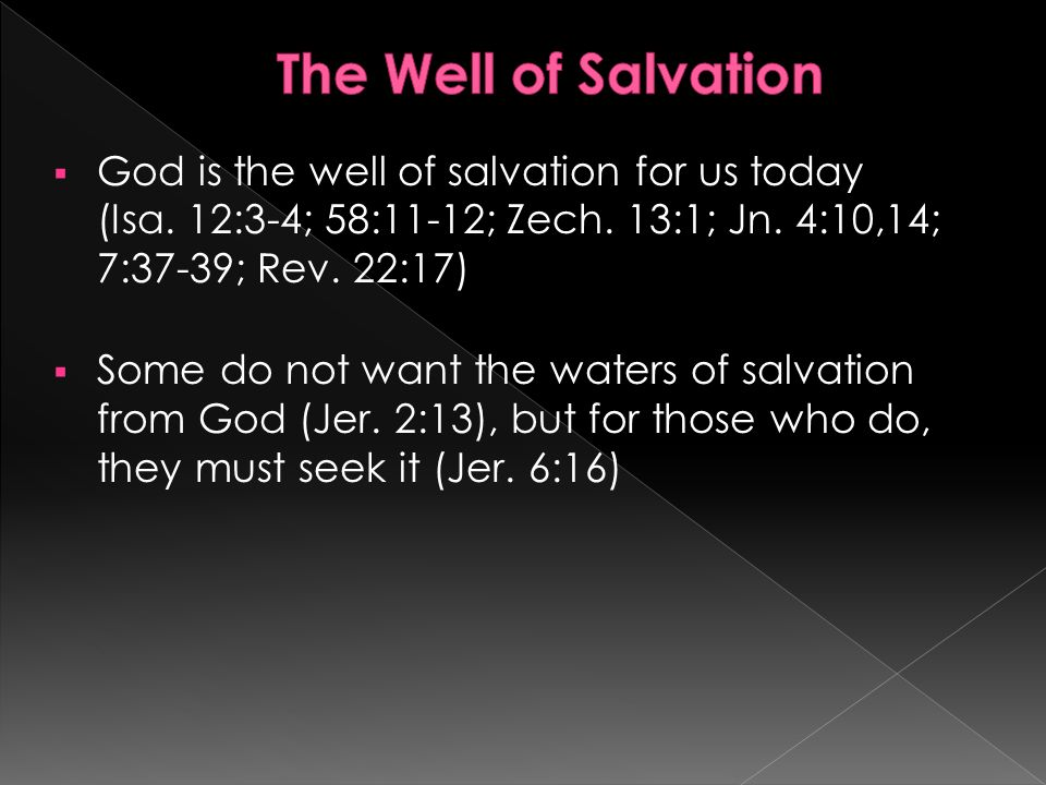 God is the well of salvation for us today (Isa. 12:3-4; 58:11-12; Zech.