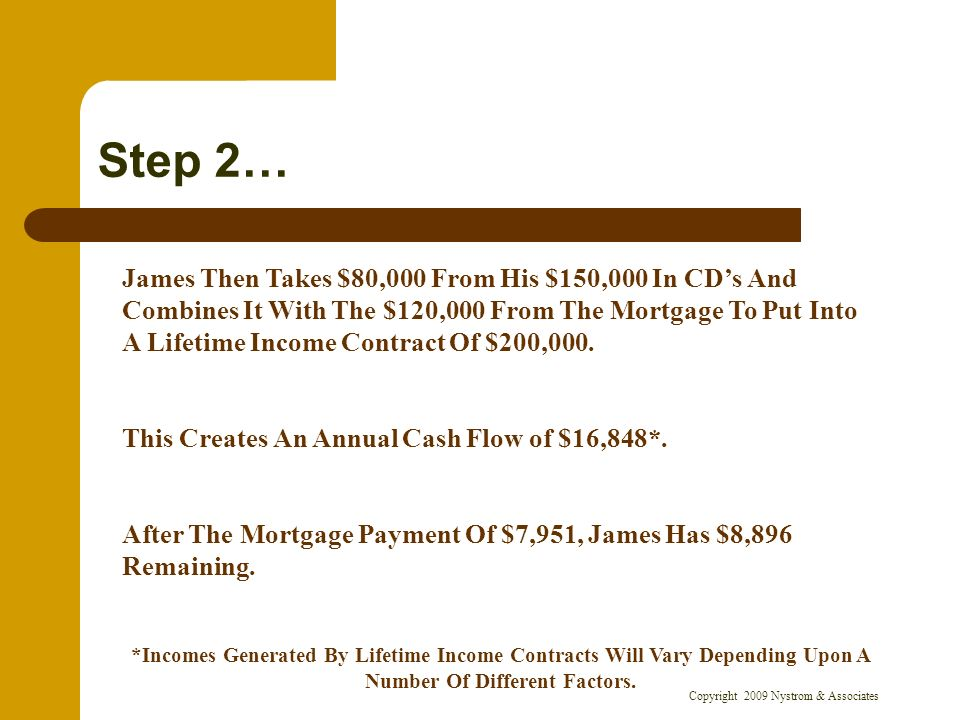 Copyright 2009 Nystrom & Associates Step 2… James Then Takes $80,000 From His $150,000 In CDs And Combines It With The $120,000 From The Mortgage To Put Into A Lifetime Income Contract Of $200,000.