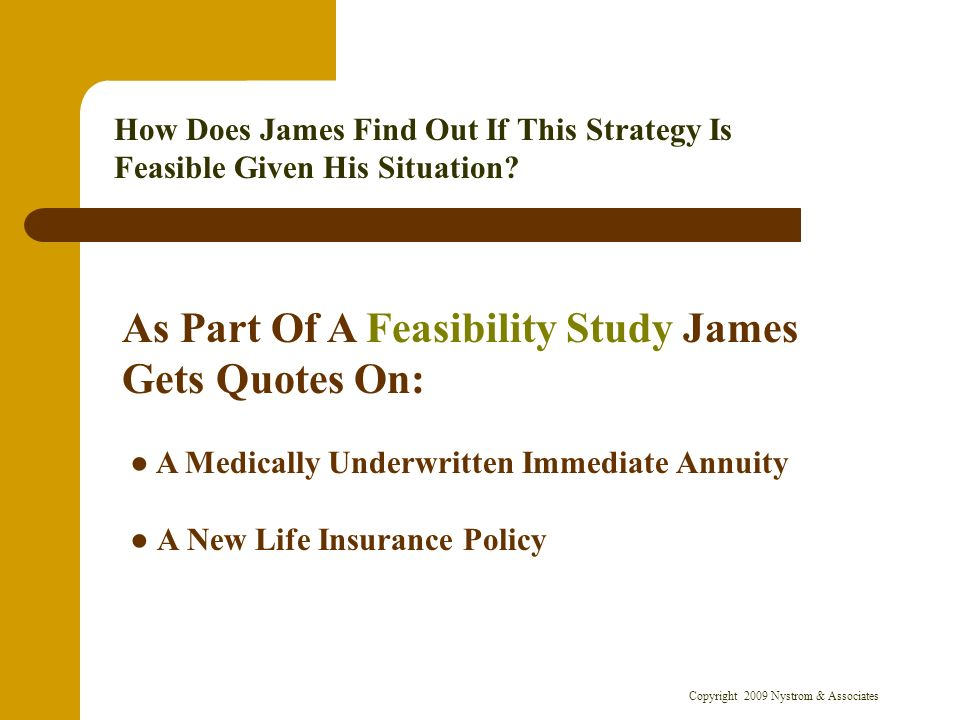 Copyright 2009 Nystrom & Associates How Does James Find Out If This Strategy Is Feasible Given His Situation.