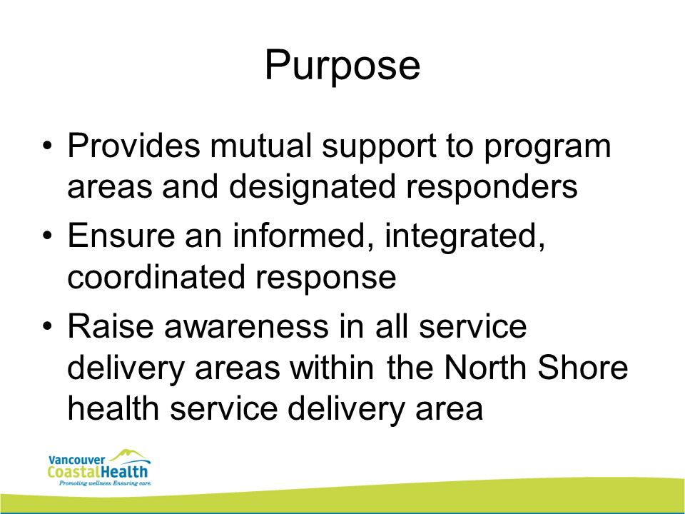 Purpose Provides mutual support to program areas and designated responders Ensure an informed, integrated, coordinated response Raise awareness in all
