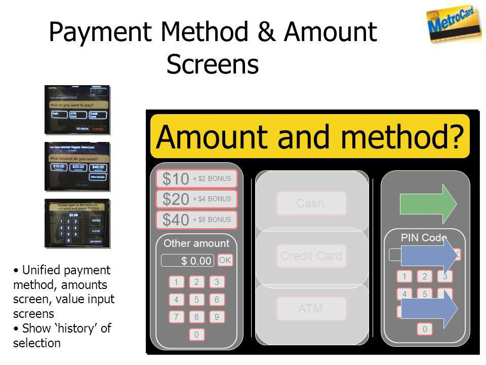 Payment Method & Amount Screens Unified payment method, amounts screen, value input screens Show history of selection Amount and method? $10 + $2 BONU