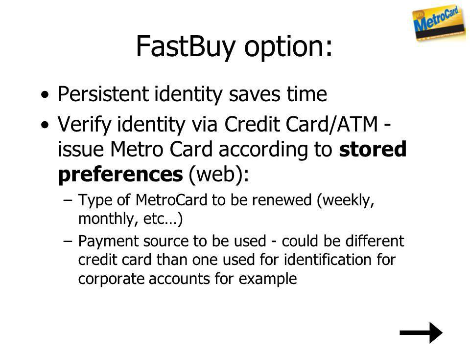 FastBuy option: Persistent identity saves time Verify identity via Credit Card/ATM - issue Metro Card according to stored preferences (web): –Type of