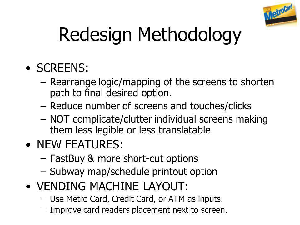 Redesign Methodology SCREENS: –Rearrange logic/mapping of the screens to shorten path to final desired option. –Reduce number of screens and touches/c