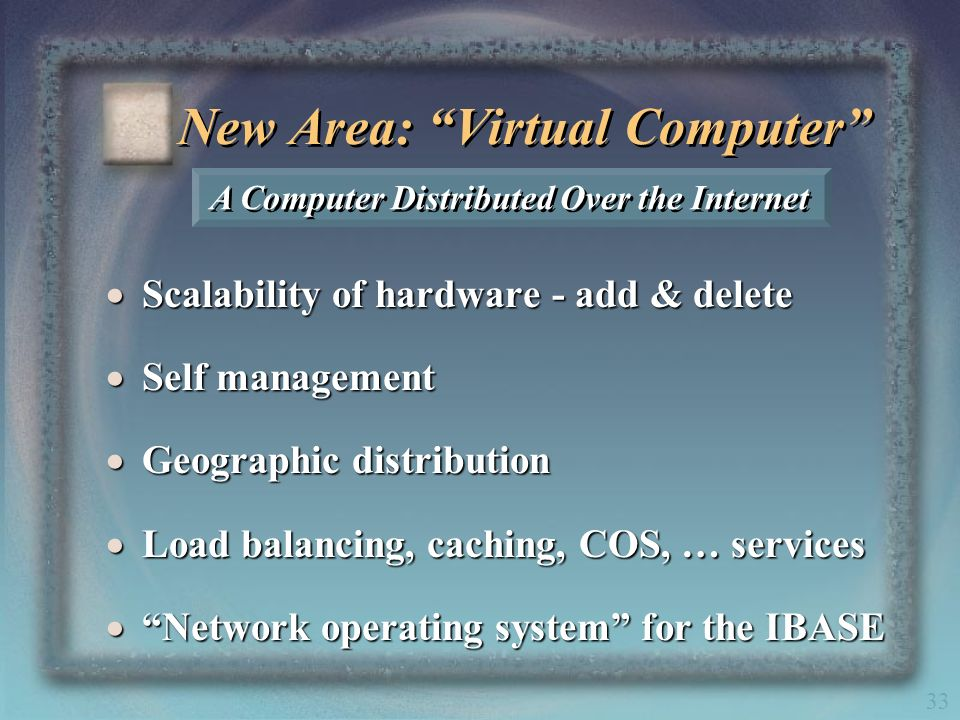 33 New Area: Virtual Computer Scalability of hardware - add & delete Scalability of hardware - add & delete Self management Self management Geographic