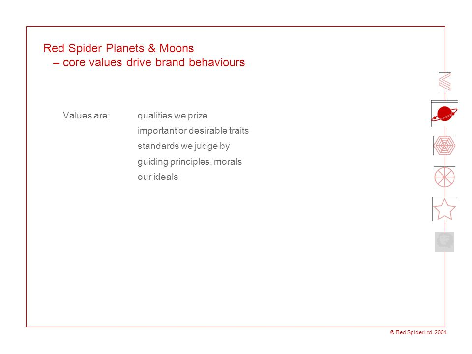 © Red Spider Ltd. 2004 Red Spider Planets & Moons – core values drive brand behaviours Values are: qualities we prize important or desirable traits st