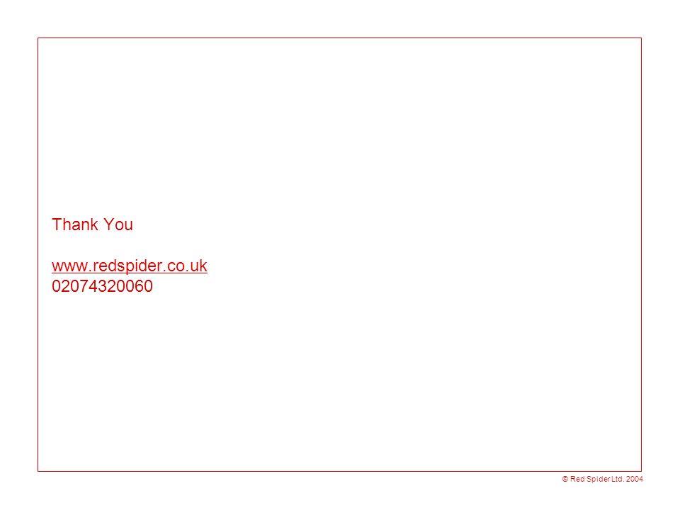 © Red Spider Ltd. 2004 Thank You www.redspider.co.uk 02074320060 www.redspider.co.uk