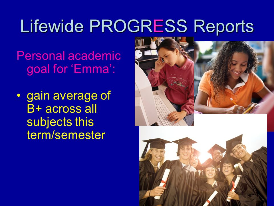 Lifewide PROGRESS Reports Personal academic goal for Emma: gain average of B+ across all subjects this term/semester
