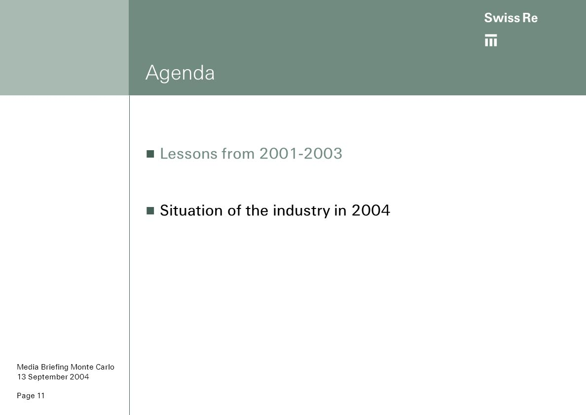 ab Page 11 Agenda Lessons from 2001-2003 Situation of the industry in 2004 Media Briefing Monte Carlo 13 September 2004