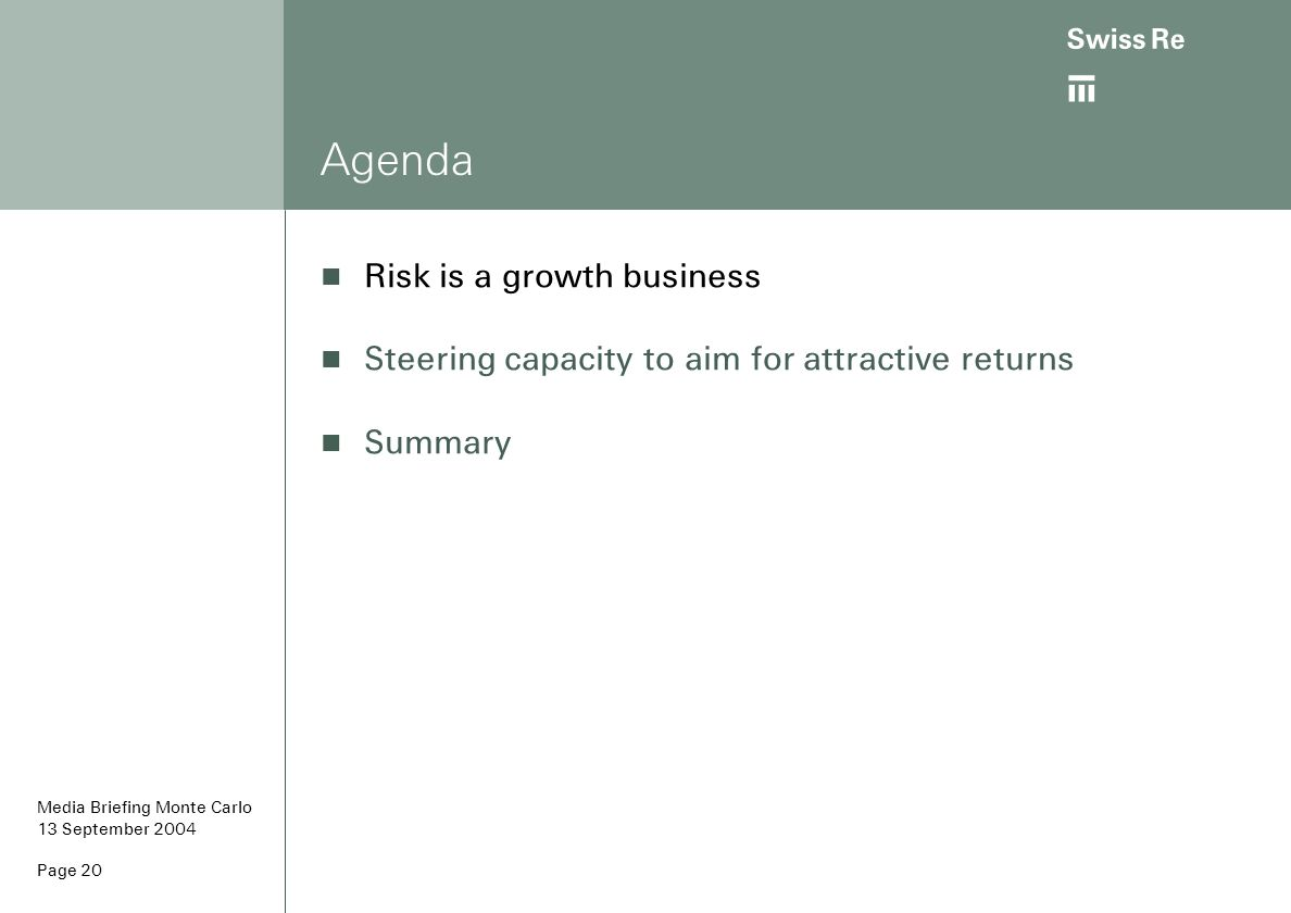 ab Page 20 Agenda Risk is a growth business Steering capacity to aim for attractive returns Summary Media Briefing Monte Carlo 13 September 2004