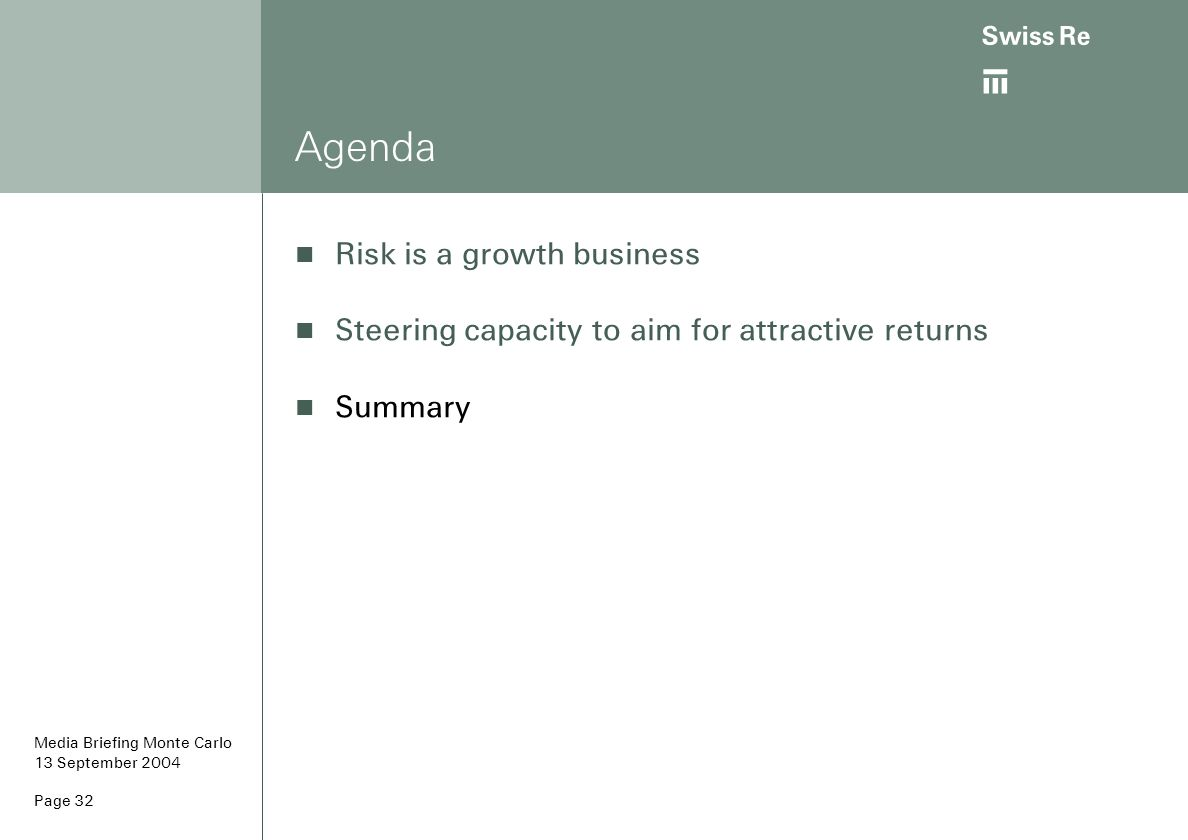 ab Page 32 Agenda Risk is a growth business Steering capacity to aim for attractive returns Summary Media Briefing Monte Carlo 13 September 2004