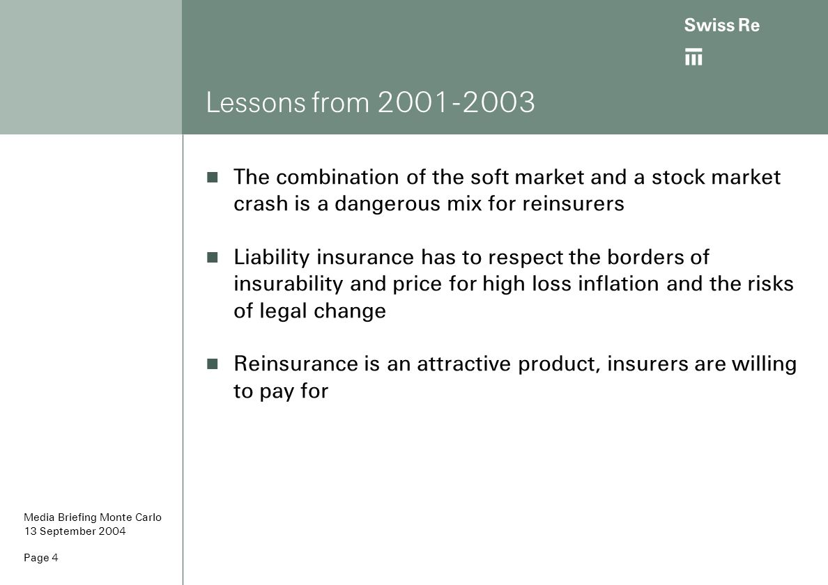 ab Page 5 The soft cycle shows up in high reinsurance combined ratios* Combined ratios peaked in 2001, since then they are on a steady decline to profitable underwriting results 80% 90% 100% 110% 120% 130% 140% 150% 9092949698000204 WorldwideUS [RAA] * calendar year view Source: Swiss Re Economic Research & Consulting, Reinsurance Association of America (US) Media Briefing Monte Carlo 13 September 2004