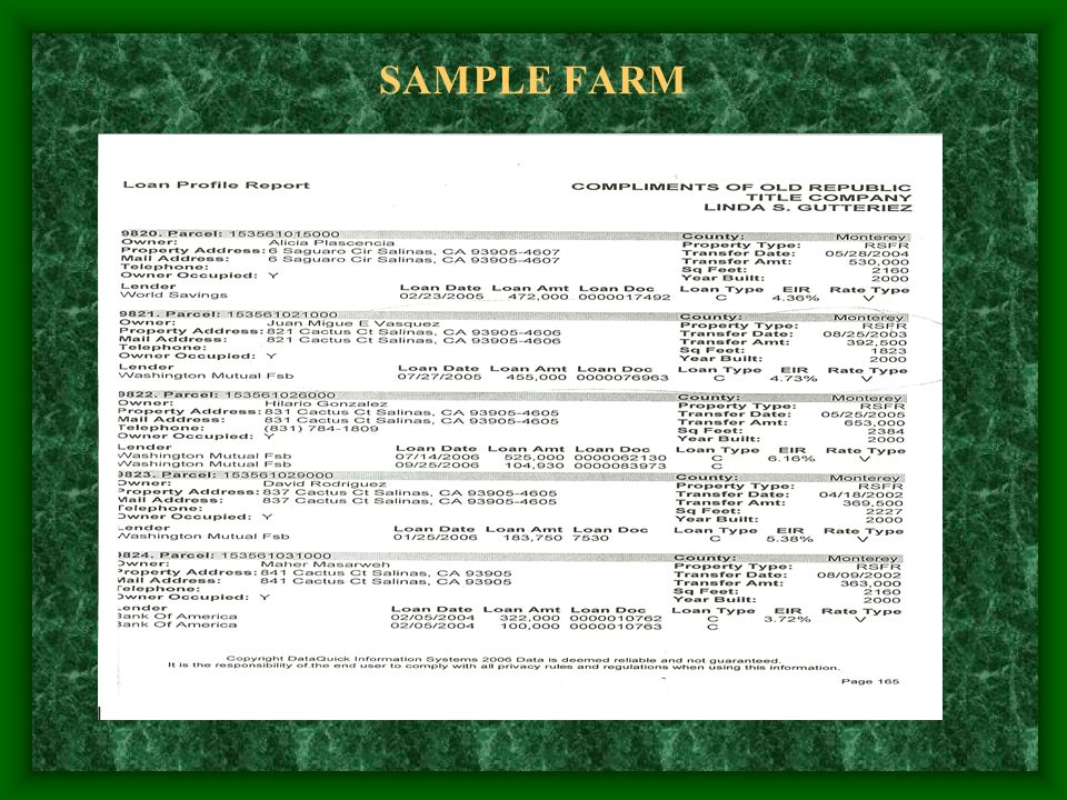 SAMPLE FARM