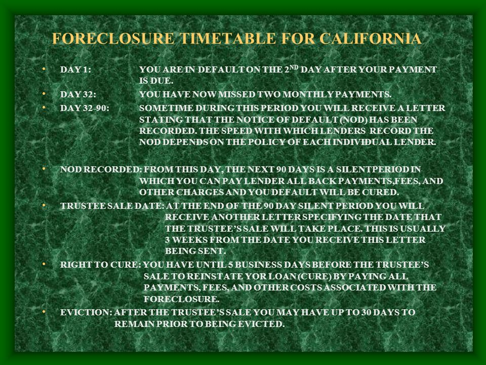 FORECLOSURE TIMETABLE FOR CALIFORNIA DAY 1:YOU ARE IN DEFAULT ON THE 2 ND DAY AFTER YOUR PAYMENT IS DUE.