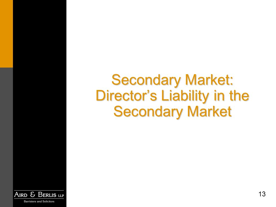 13 Secondary Market: Directors Liability in the Secondary Market