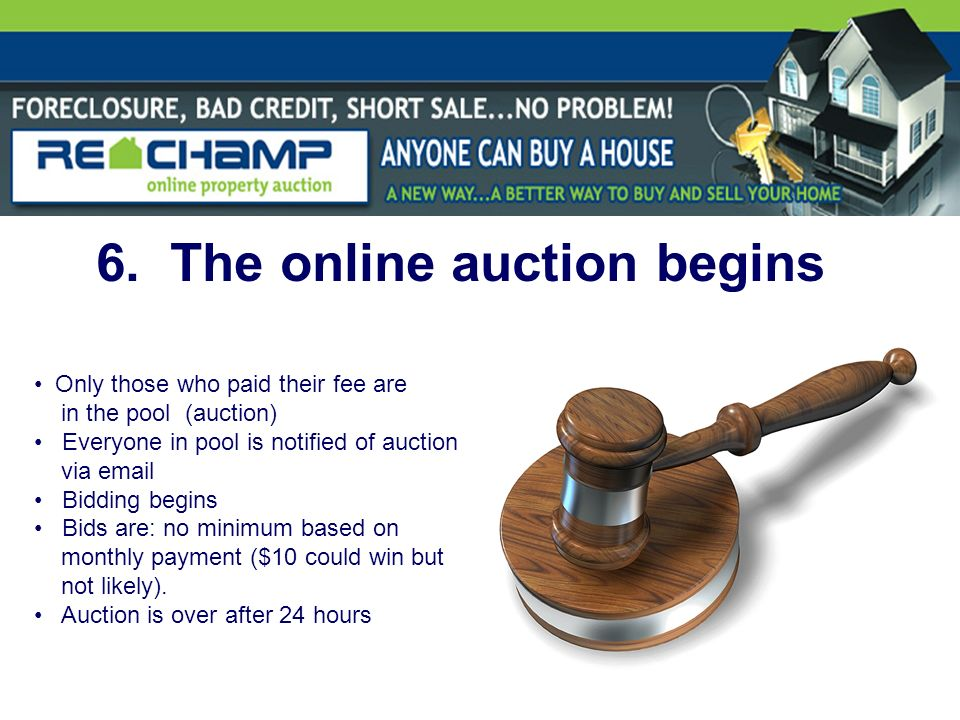 6. The online auction begins Only those who paid their fee are in the pool (auction) Everyone in pool is notified of auction via email Bidding begins
