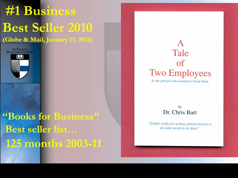 #1 Business Best Seller 2010 (Globe & Mail, January 11, 2011) Books for Business Best seller list… 125 months