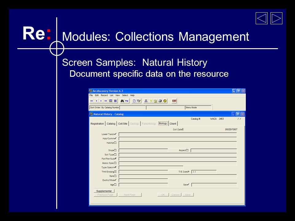 Screen Samples: Natural History Document specific data on the resource Re : Modules: Collections Management