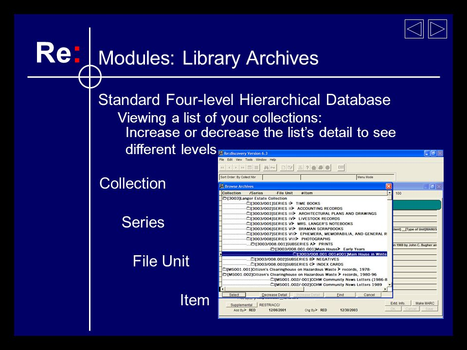 Browse a list of archival collection titles Increase or decrease the lists detail to see different levels Collection Series File Unit Item Viewing a list of your collections: Re : Modules: Library Archives Standard Four-level Hierarchical Database