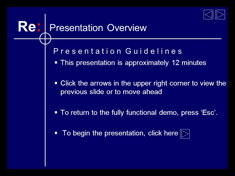 This presentation is approximately 12 minutes Click the arrows in the upper right corner to view the previous slide or to move ahead To return to the fully functional demo, press Esc.