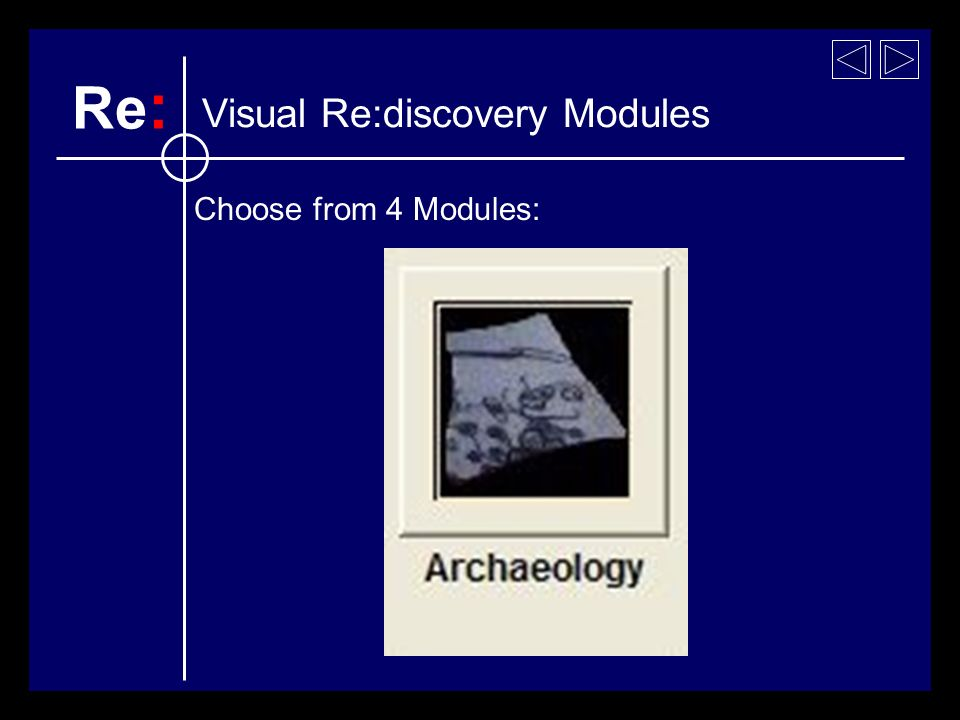 Visual Re:discovery Modules Choose from 4 Modules: Re :
