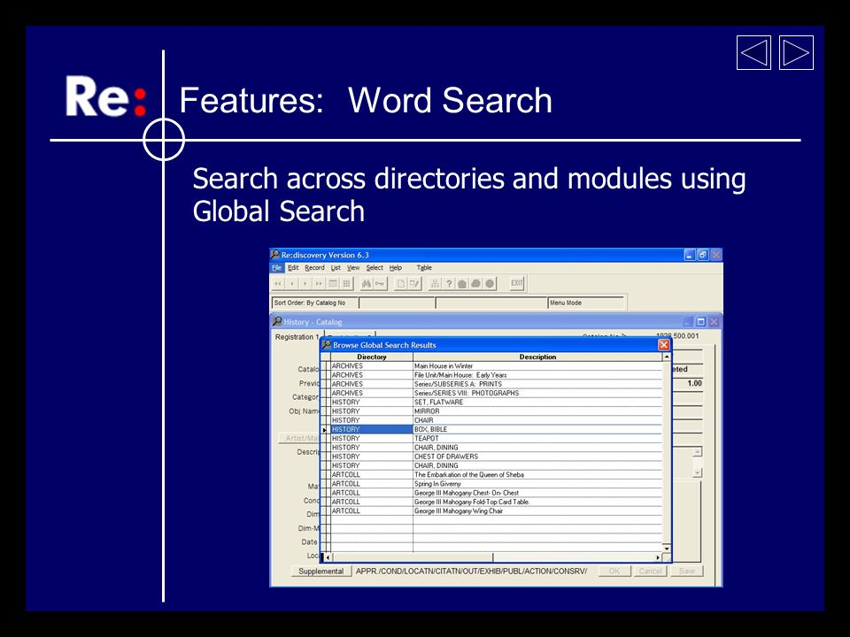Search across directories and modules using Global Search Features: Word Search