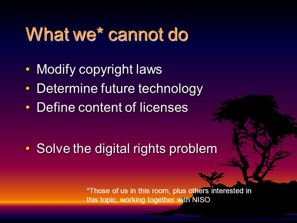What we probably shouldnt do Create another RELCreate another REL Rights management technology standardsRights management technology standards Any standardsAny standards