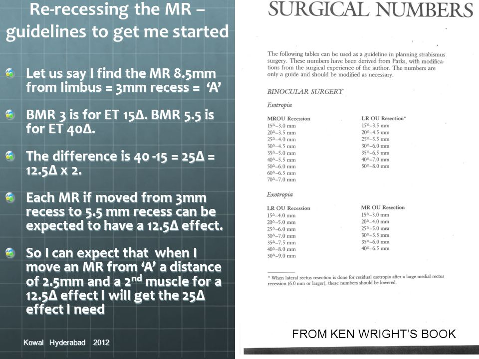 Re-recessing the MR – guidelines to get me started Let us say I find the MR 8.5mm from limbus = 3mm recess = A BMR 3 is for ET 15Δ. BMR 5.5 is for ET