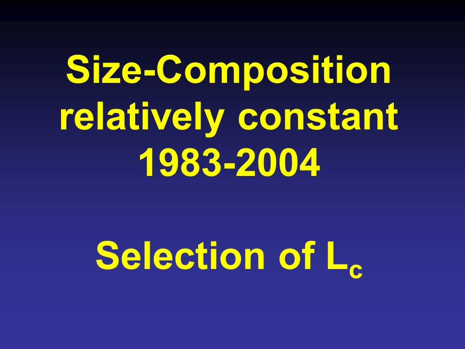 Size-Composition relatively constant 1983-2004 Selection of L c