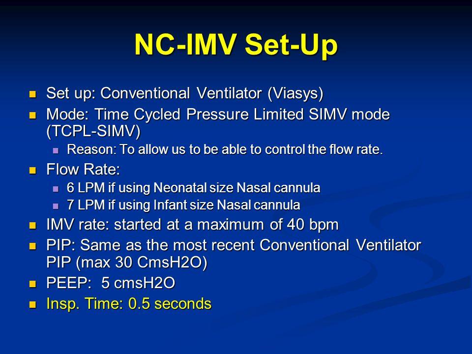 NC-IMV Set-Up Set up: Conventional Ventilator (Viasys) Set up: Conventional Ventilator (Viasys) Mode: Time Cycled Pressure Limited SIMV mode (TCPL-SIM
