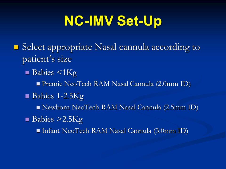 NC-IMV Set-Up Select appropriate Nasal cannula according to patients size Select appropriate Nasal cannula according to patients size Babies <1Kg Babi