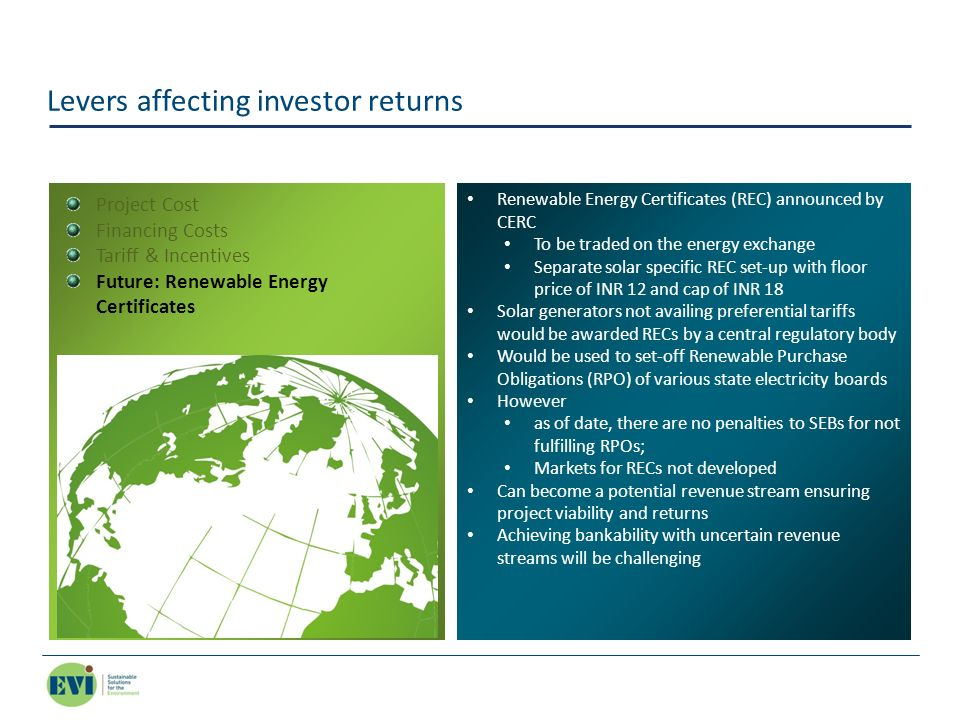 Levers affecting investor returns Renewable Energy Certificates (REC) announced by CERC To be traded on the energy exchange Separate solar specific RE