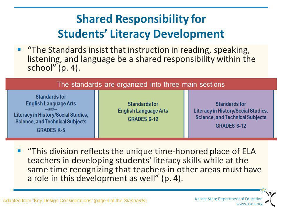 Kansas State Department of Education www.ksde.org Shared Responsibility for Students Literacy Development The Standards insist that instruction in rea
