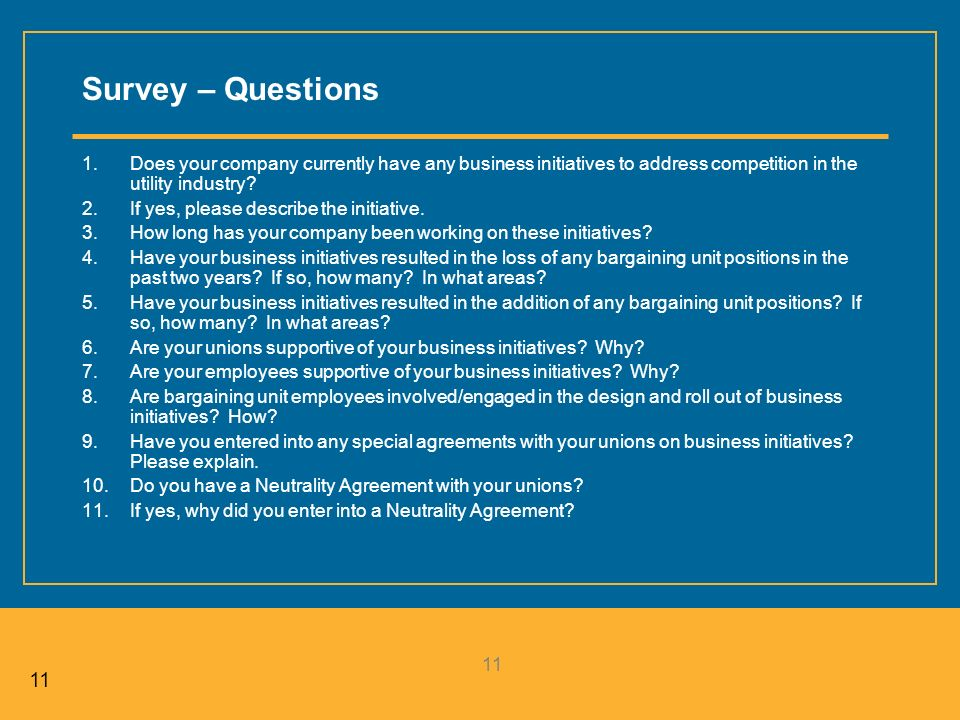 11 Survey – Questions 1.Does your company currently have any business initiatives to address competition in the utility industry.