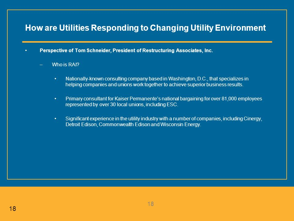 18 How are Utilities Responding to Changing Utility Environment Perspective of Tom Schneider, President of Restructuring Associates, Inc.