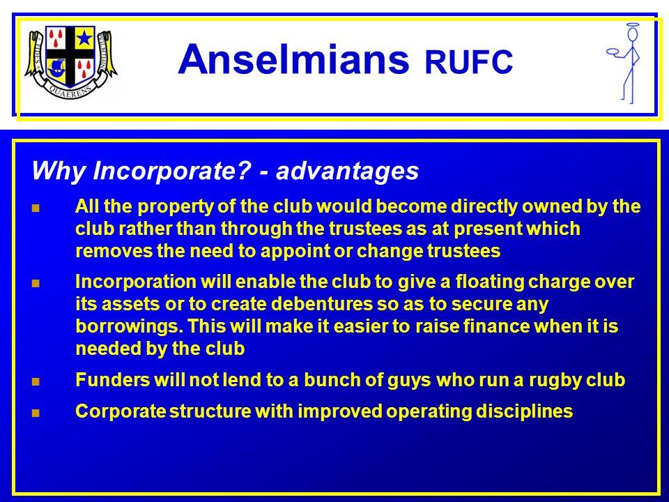 Anselmians RUFC New Anselmians ? VOTE TO SECURE OUR FUTURE