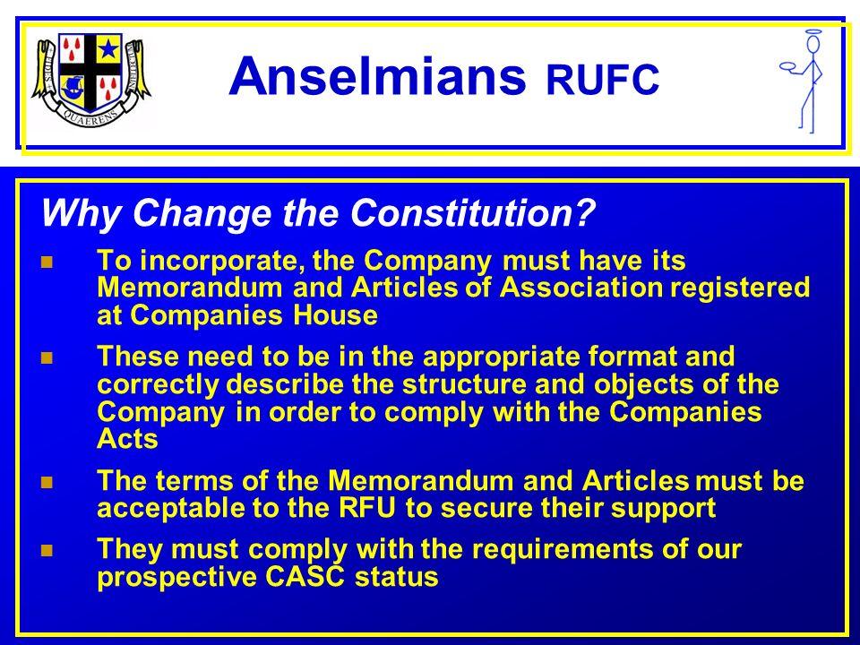 Anselmians RUFC What changes.