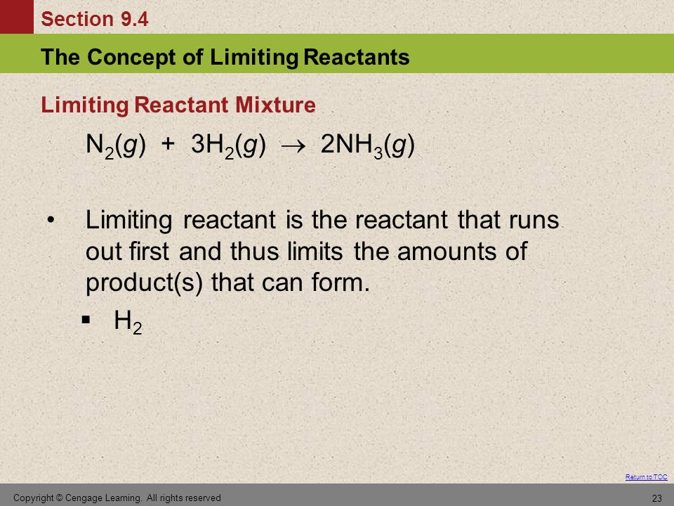 Section 9.4 The Concept of Limiting Reactants Return to TOC Copyright © Cengage Learning. All rights reserved 23 N 2 (g) + 3H 2 (g) 2NH 3 (g) Limiting