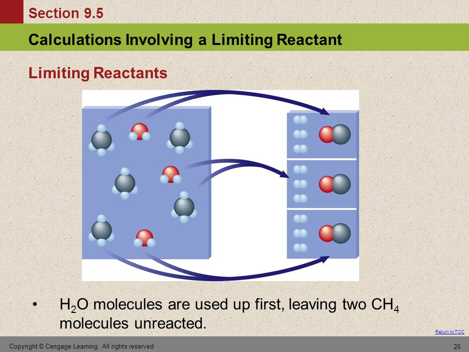 Section 9.5 Calculations Involving a Limiting Reactant Return to TOC Copyright © Cengage Learning. All rights reserved 26 H 2 O molecules are used up