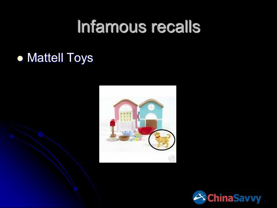 Infamous recalls Mattell Toys Mattell Toys
