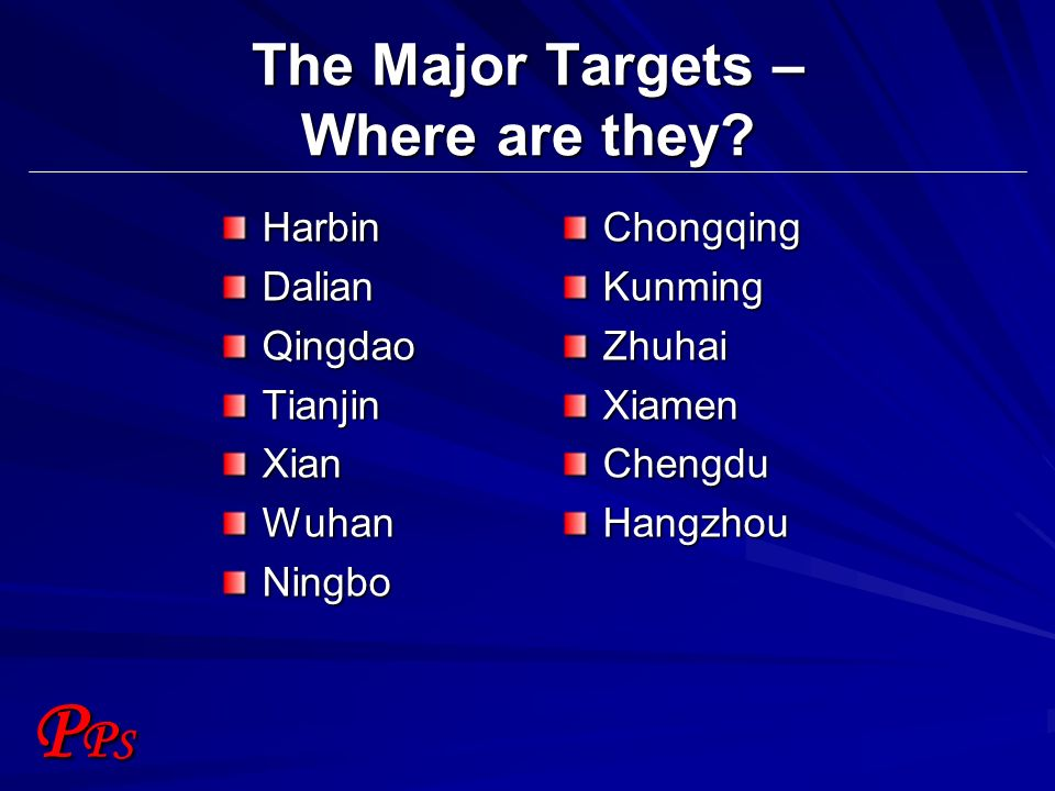 PPSPPS The Major Targets – Where are they.