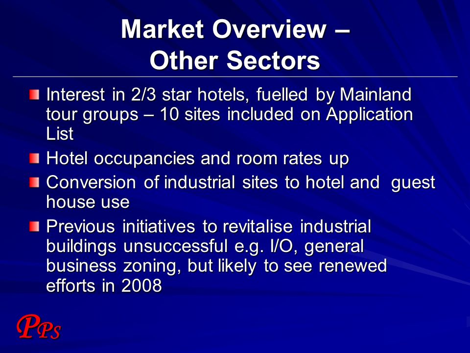 PPSPPS Market Overview – Other Sectors Interest in 2/3 star hotels, fuelled by Mainland tour groups – 10 sites included on Application List Hotel occu