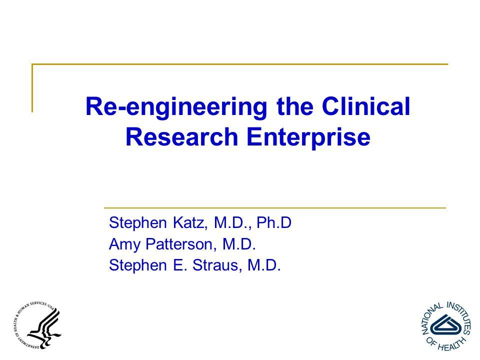 Re-engineering the Clinical Research Enterprise Stephen Katz, M.D., Ph.D Amy Patterson, M.D.