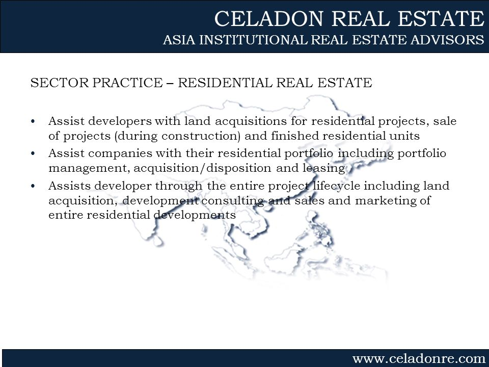 Gvmk,bj. SECTOR PRACTICE – RESIDENTIAL REAL ESTATE Assist developers with land acquisitions for residential projects, sale of projects (during constru