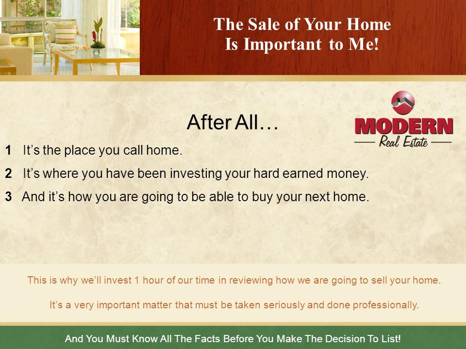 Here Are The Facts You Must Know Before You List Your Home.