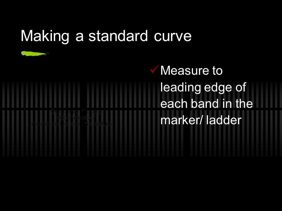 Making a standard curve Measure to leading edge of each band in the marker/ ladder